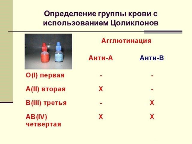 Определения группы крови и резус-фактора цоликлонами